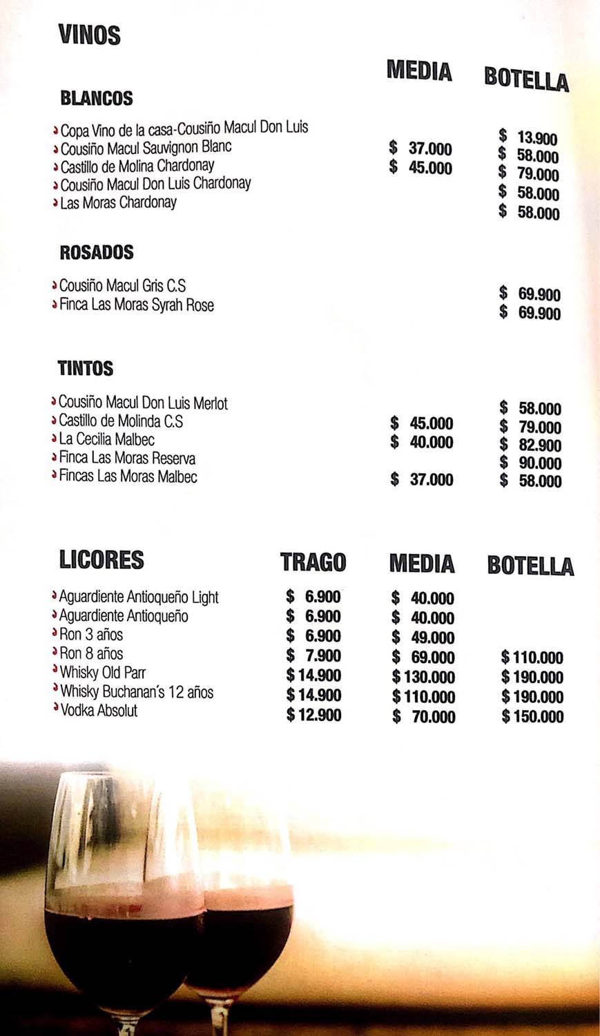 Carta Restaurante Pisco y Marisco